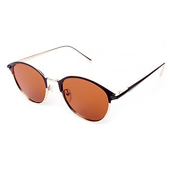 Sunglasses Unisex black/gold with brown lens (18-108)