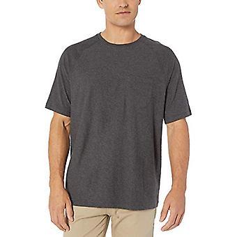 Essentials Men's Regular-Fit Slub Raglan Crew T-Shirt, Charcoal Heather, Large