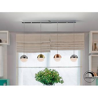 Integrated LED Dimmable Bar Ceiling Pendant with Remote Control Chrome, Brass, Copper