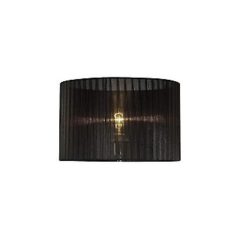 Redondo Organza Sombra Negro 360mm x 230mm, Adecuado para Lámpara de Mesa