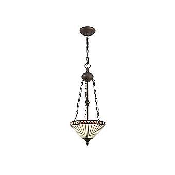 Iluminación luminosa - 2 Light Uplighter colgante de techo E27 con 30cm Tiffany Shade, ámbar, cristal, envejecido latón antiguo