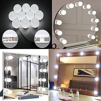 12v 10 led pærer kit - trinnløs dimbar lampe hollywood forfengelighet kosmetisk speil