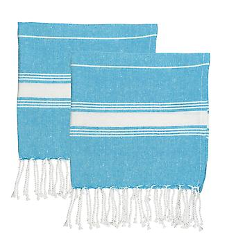 Nicola Spring 100% Turkish Cotton Micro Hand Towel Set - Light Blue - Opakowanie 2