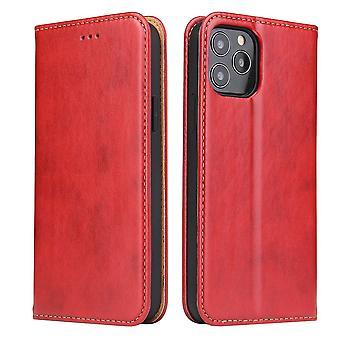 Voor iPhone 12 mini case lederen Flip Wallet Folio Cover met stand rood