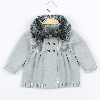 Baby Boys Cardigan Autumn Winter Fur Collar Knitted Sweater Jacket Coat