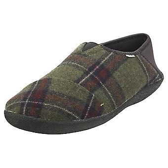 Toms Rodeo Military Earthy Plaid Mens Slippers Shoes in Olive