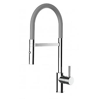 Kitchen Single-lever Sink Mixer With Grey Movable Spout And 2 Jets Shower - Low Version 43 Cm - 555