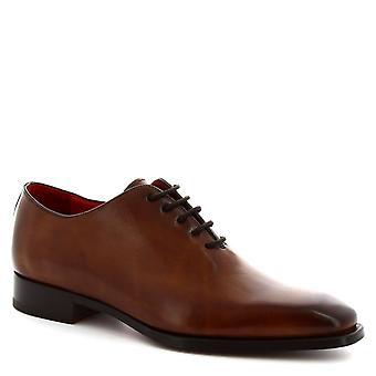 Leonardo Shoes Men's handmade square toe wholecuts shoes brandy calf leather