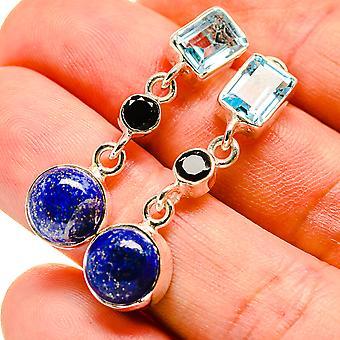 """Lapis Lazuli, Blue Topaz, Black Onyx Earrings 1 1/2"""" (925 Sterling Silver)  - Handmade Boho Vintage Jewelry EARR407563"""