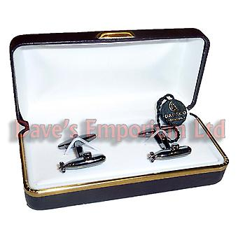 Submarine Cufflinks by Dalaco - Gift Boxed - High Quality - Gun Metal Submariner