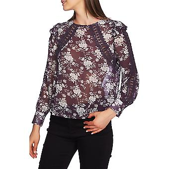 1.State | Floral Sheer Lace Trim Blouse
