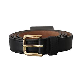 Black leather gold buckle waist belt