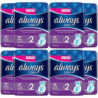Toujours Maxi Pads Long with Wings, 8 Pack de 12 Pads