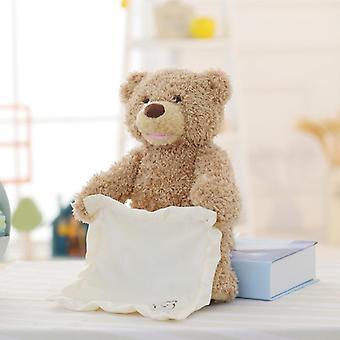 Electric Face Turning Shy Bear Plush Toy