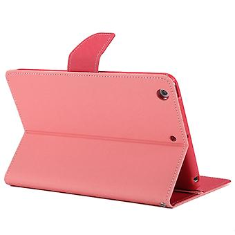 MERCURY GOOSPERY FANCY DIARY for iPad mini 3 / 2 Cross Texture Leather Case with Card Slot & Holder & Wallet(Pink)
