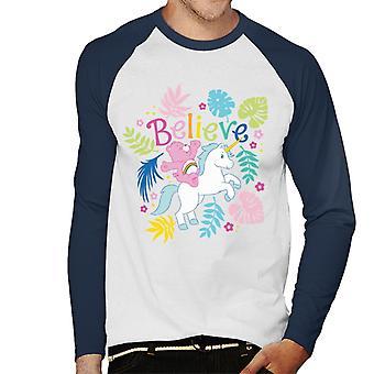 Care Bears Cheer Bear Yksisarvinen Usko Men's Baseball Pitkähihainen T-paita