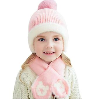 Kids Beanie Sets Five-star Hair Ball Boys Girls Winter Knit Hat Scarf