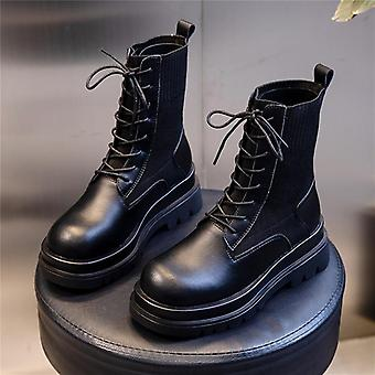 Genuine Leather Platform Light Comfortable Chunky Boots Fashion Lace Up Lady