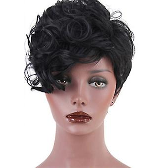 Brand Mall Wigs, Lace Wigs, Realistic Short Curly Hair Black