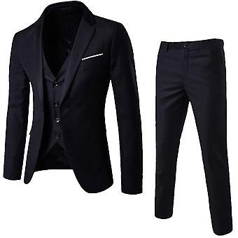 3 Piec Men Business Blazer +vest +pants Suit Sets  Office Workingmal