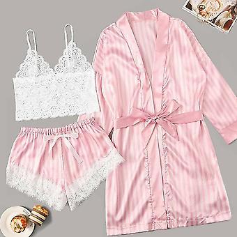 Long Sleeve Pajamas Sexy Lace Lingerie Nightwear Underwear Sleepwear Suit