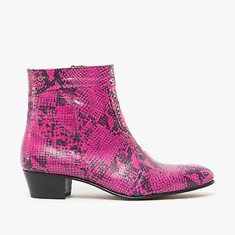 Club Cubano Emmanuel Mens Snakeprint Leather Cuban Heel Boots Neon Magenta