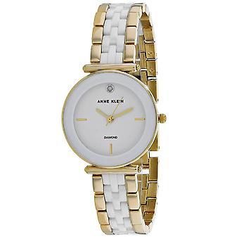 Anne Klein Women's Genuine Diamond White Dial Watch - AK-3158WTGB