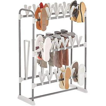 mDesign 3-Tiered Shoe Rack – Metal Shoe Shelf for 24 Pairs of Shoes and 3 Pairs of Boots