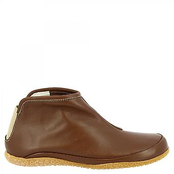 Leonardo Shoes Women'shandmade round toe slip-on ankle boots in brown calf leather