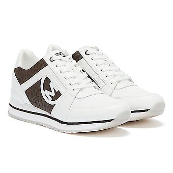 Michael Kors Billie Logo Leather Womens White / Brown Trainers