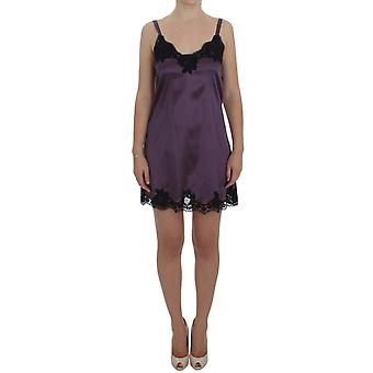 Dolce & Gabbana Purple Silk Czarna Koronka Bielizna Sukienka