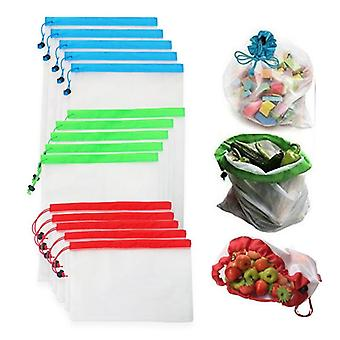 12 Piece set of ecofriendly, washable and reusable mesh produce and grocery bags  (multi)