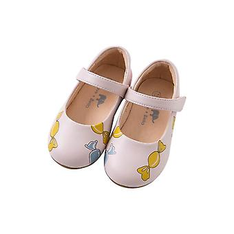 Spring, Autumn, Baby Pink Bow Print Leather Shoes, Shoe