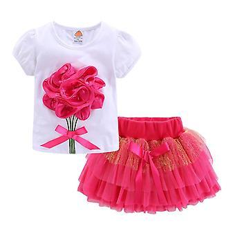 Roztomilné oblečenie, Boutique 3d Flower Čipka Bow Tulle Tutu sukne sady