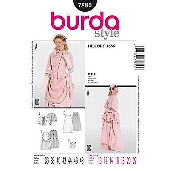 Burda symönster 7880 missar historiska 1888 Bustle Dress Kostymer Storlek 10-22 Euro 36-48
