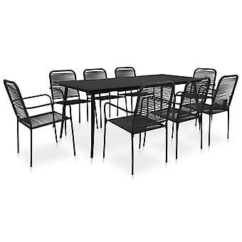 9 piezas al aire libre comedor conjunto de algodón cuerda y acero negro