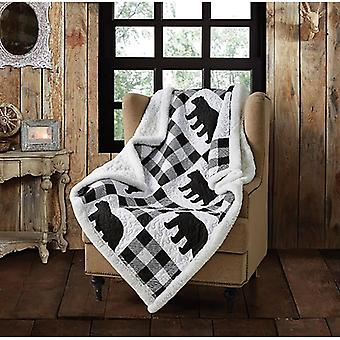 Spura Home Buffalo Plaid Black Primitive Novelty Quilted Sherpa Throw