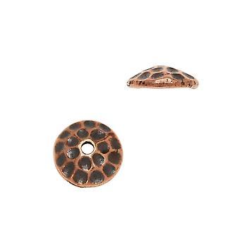 Berretto perline, Hammertone 7,5 mm, 2 pezzi, placcato in rame anticato, di TierraCast