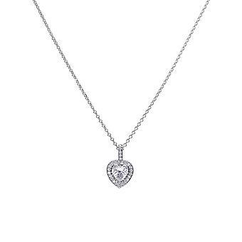 Diamonfire Womens 925 Sterling Silver Rhodium, Palladium & Platinum Plated Clear Cubic Zirconia Hjärtformat hänge med Pave Set Surround Halsband av längd 40cm - 45cm