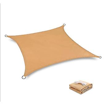 2*2M khaki waterproof sun shade sail canopy uv resistant for outdoor patio x4848