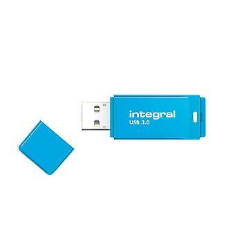Integral 128GB USB3.0 Memory Flash Drive (Memory Stick) Neon Blue