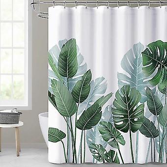 Для тропических пальмовых листьев зеленых растений душ Занавеска Набор полиэфирных водонепроницаемых штор (90 * 180 см) WS27010