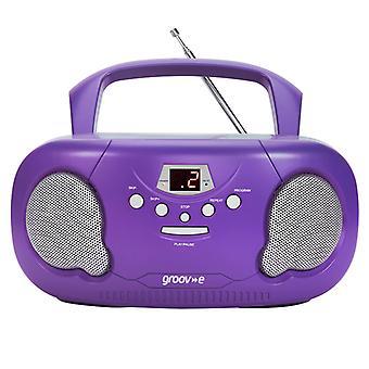 Groov-e GVPS733PE Original Boombox Tragbarer CD-Player mit Radio Purple UK Stecker