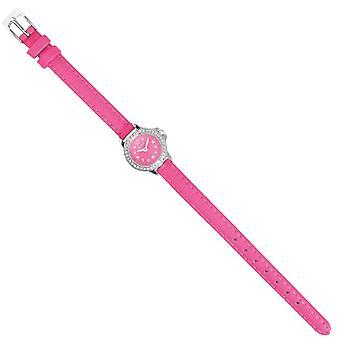 Reloj de pulsera de cuarzo, color fucsia en acero, vidrio, cuero, L21.2xP2.05xA0.8 cm