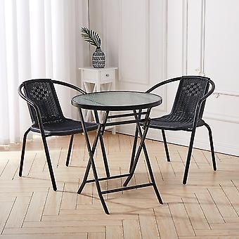 Table pliable ronde en métal noir extérieur et 2 chaises