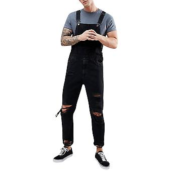 Mannen's Solid Color Ripped Casual Pocket Denim Overalls
