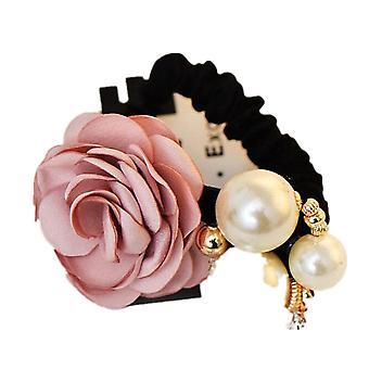 5PCS Fashion Women Rose Elastic Hair Bands Big Flower Rhinestones Imitation Pearls Flower Hair Rope
