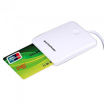 White  Abs Usb Contact Smart Chip Card Ic Cards Reader With Sim Slot