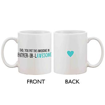 Grappige keramische koffiemok naar vader - vader-In-Lawesome, Beste vaderdag cadeau voor vader 11oz mok