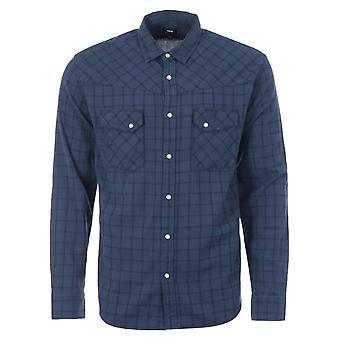 Edwin Westward Cotton Crepe Western Shirt - Blue Check